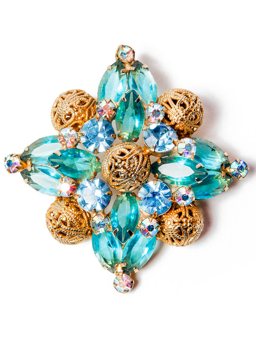 Gold Filigree and Turquoise Blue Crystal Brooch, circa 1960's