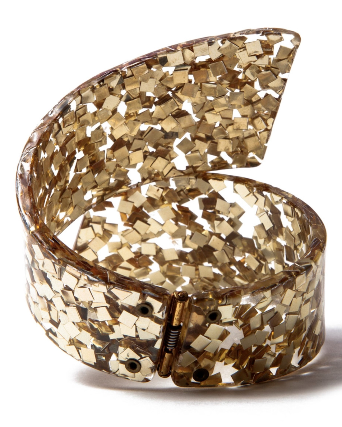 Vintage Gold Confetti Gone Lucite Wild Hinged Bracelet, circa 1950's
