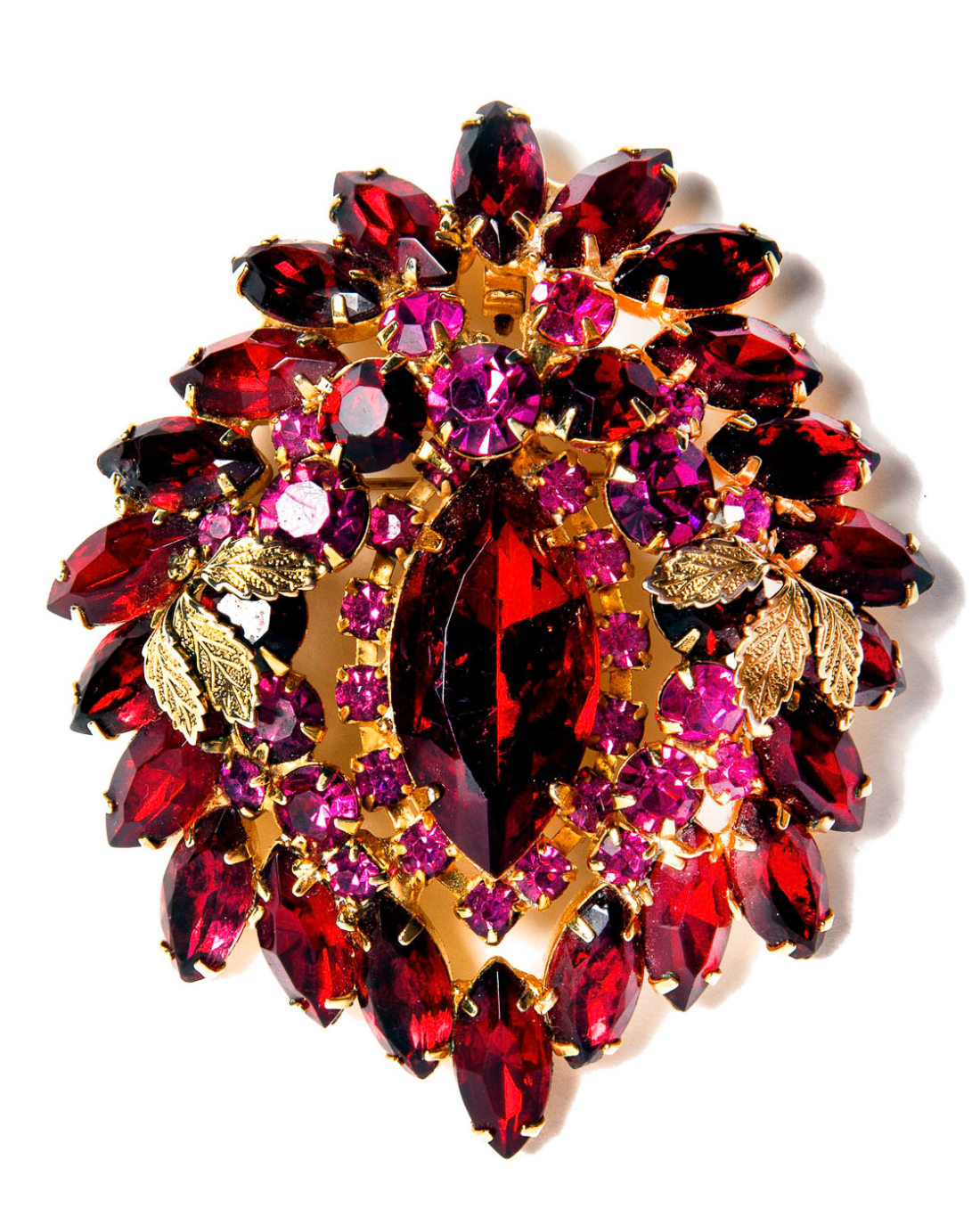 Vintage Haute Red and Fuchsia Floral Brooch Pendant, circa 1960's