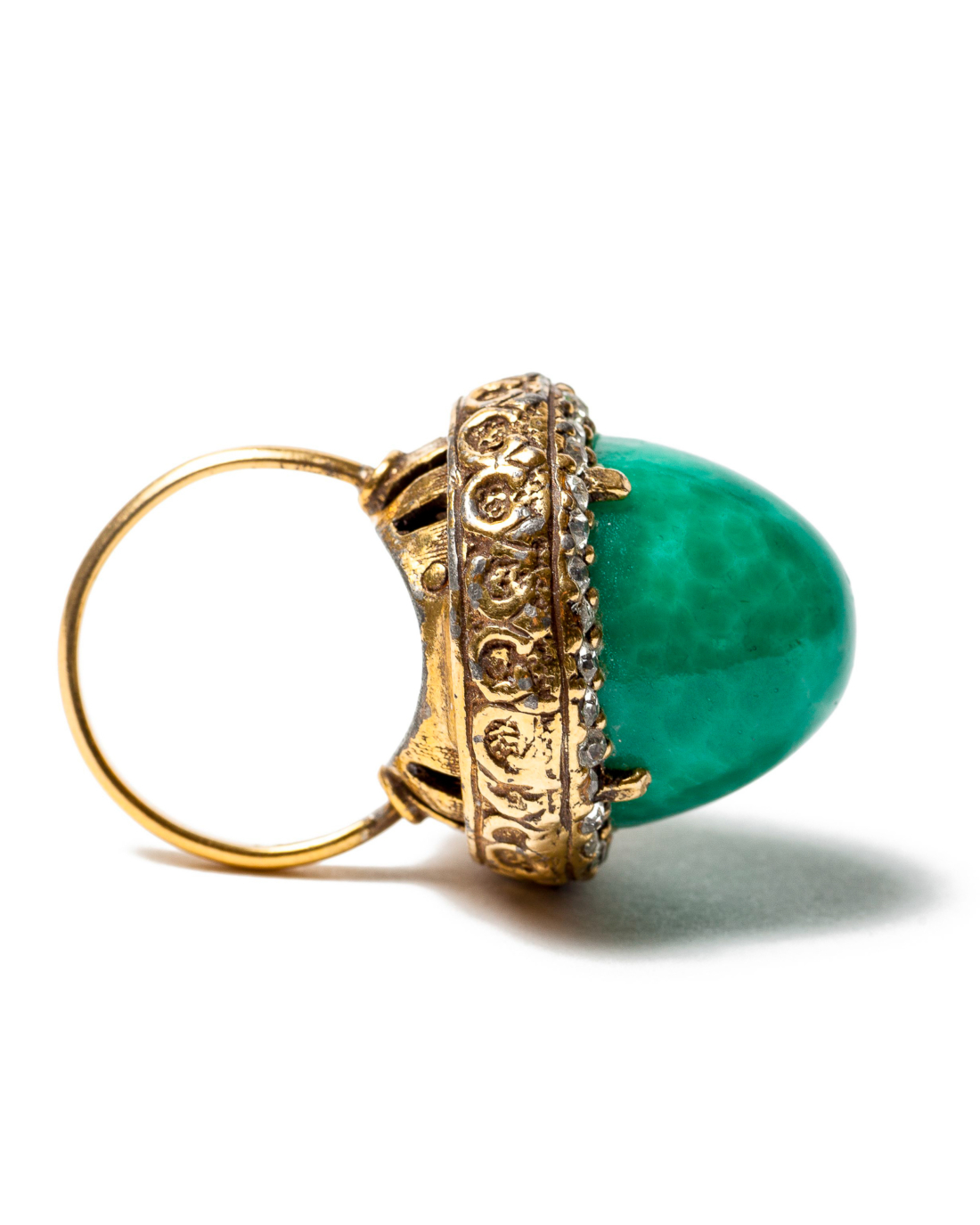 Opulent Green Peking Glass Domed Cocktail Ring, circa 1960's