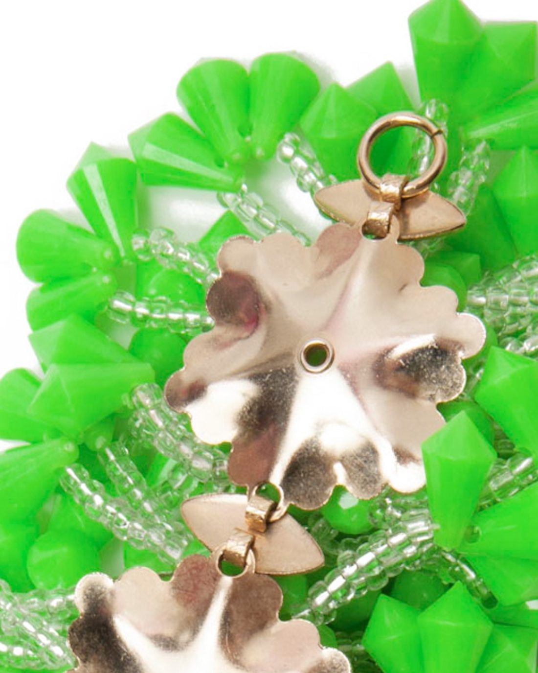 Lime Green Plastic Fantastic Faceted Beaded Bracelet, circa 1960's