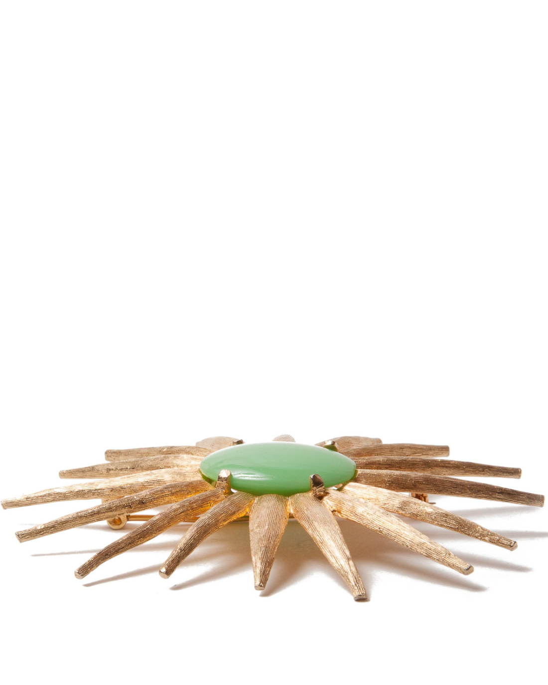 Matte Gold and Green Milk Glass Modernist Star Brooch, circa 1960's