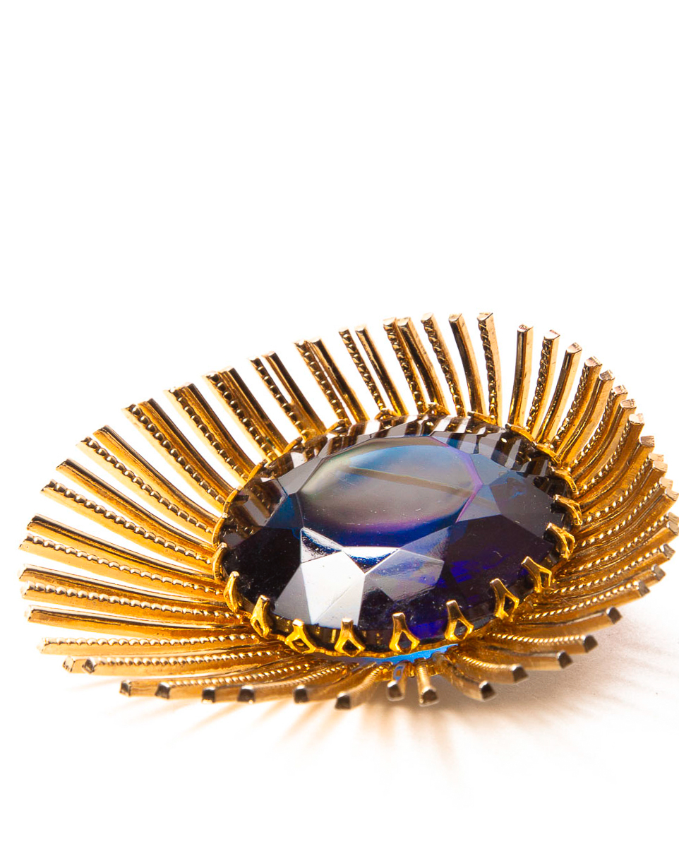 Montana Blue Glass Spiked Gold Modernist Star Brooch, circa 1960's