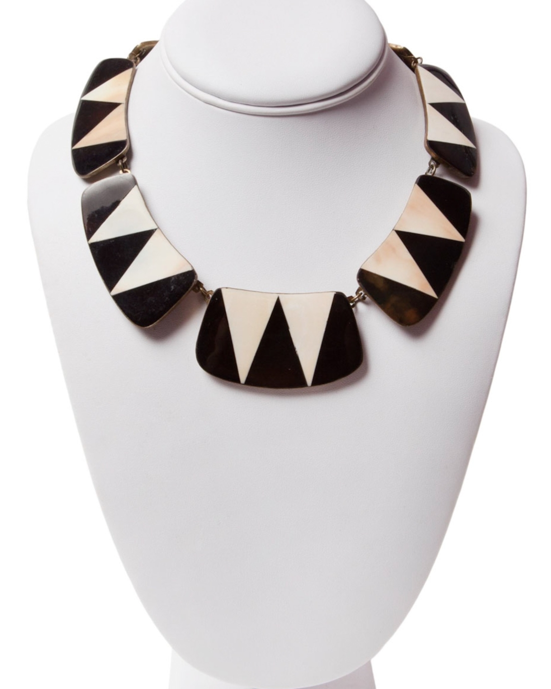 Mosaic Mother of Pearl and Black Onyx Inlaid Copper Necklace, circa 1970's