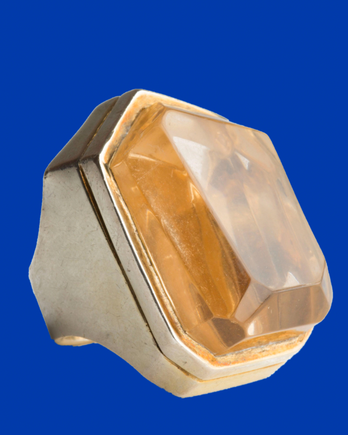 Vintage HUGE KISS THE RING Modernist Champagne Irregular Faceted Stone, circa 1960's
