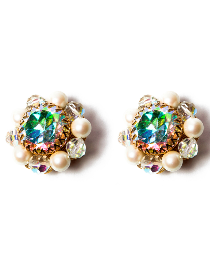 Vintage Park Lane Opal Cabochon Go Go Gold Earrings,