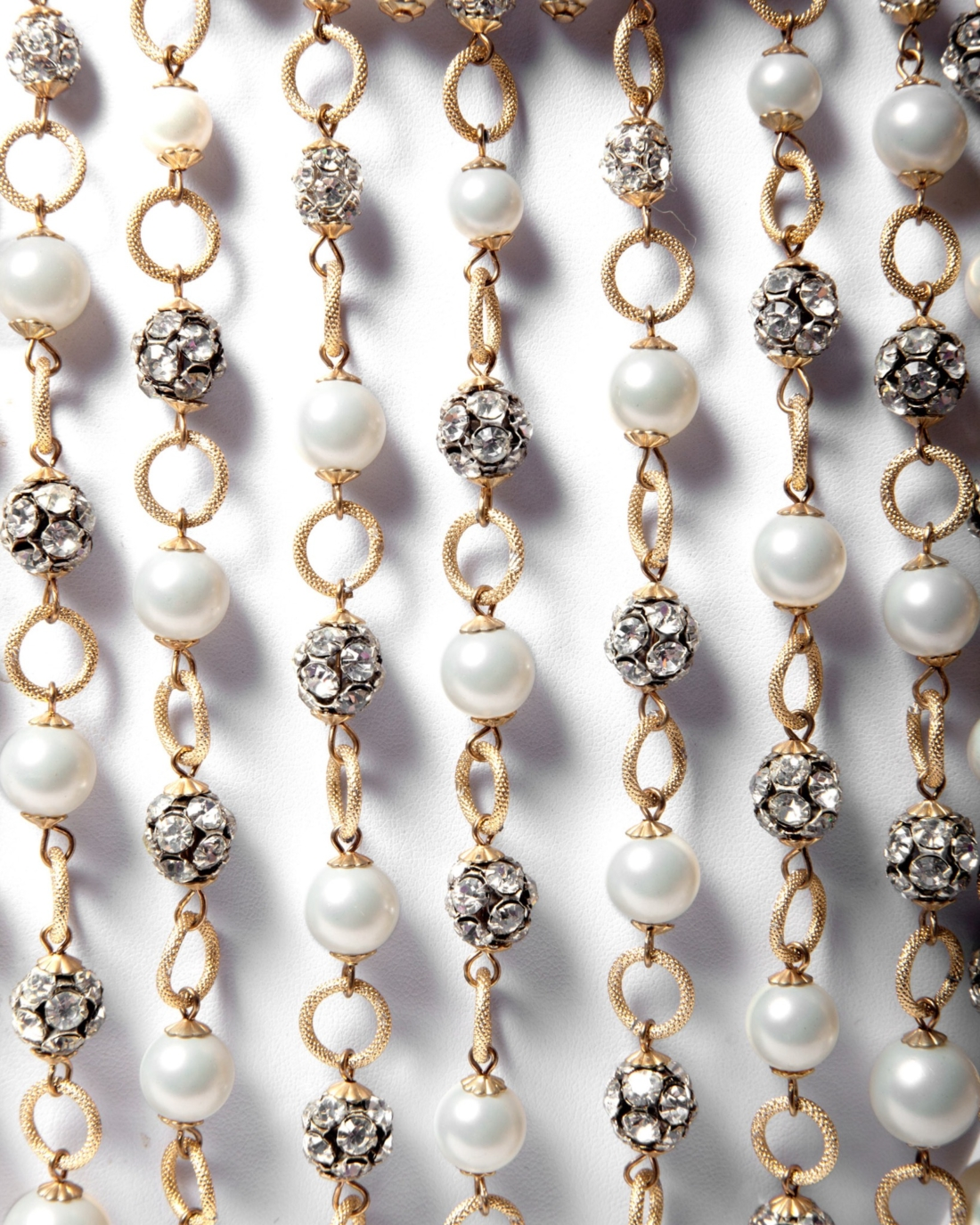 Pearl and Sparkling Crystal Ball Plunging Fringe Waterfall Necklace, circa 1950's