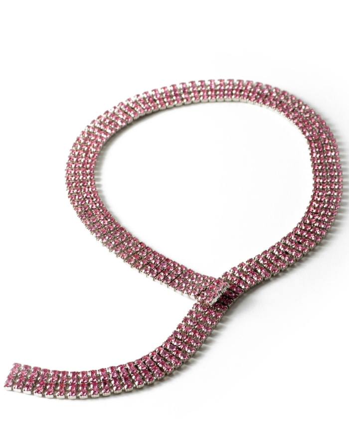 Pink Diamanté Austrian Crystal Customizeable Tie Necklace, circa 1950's