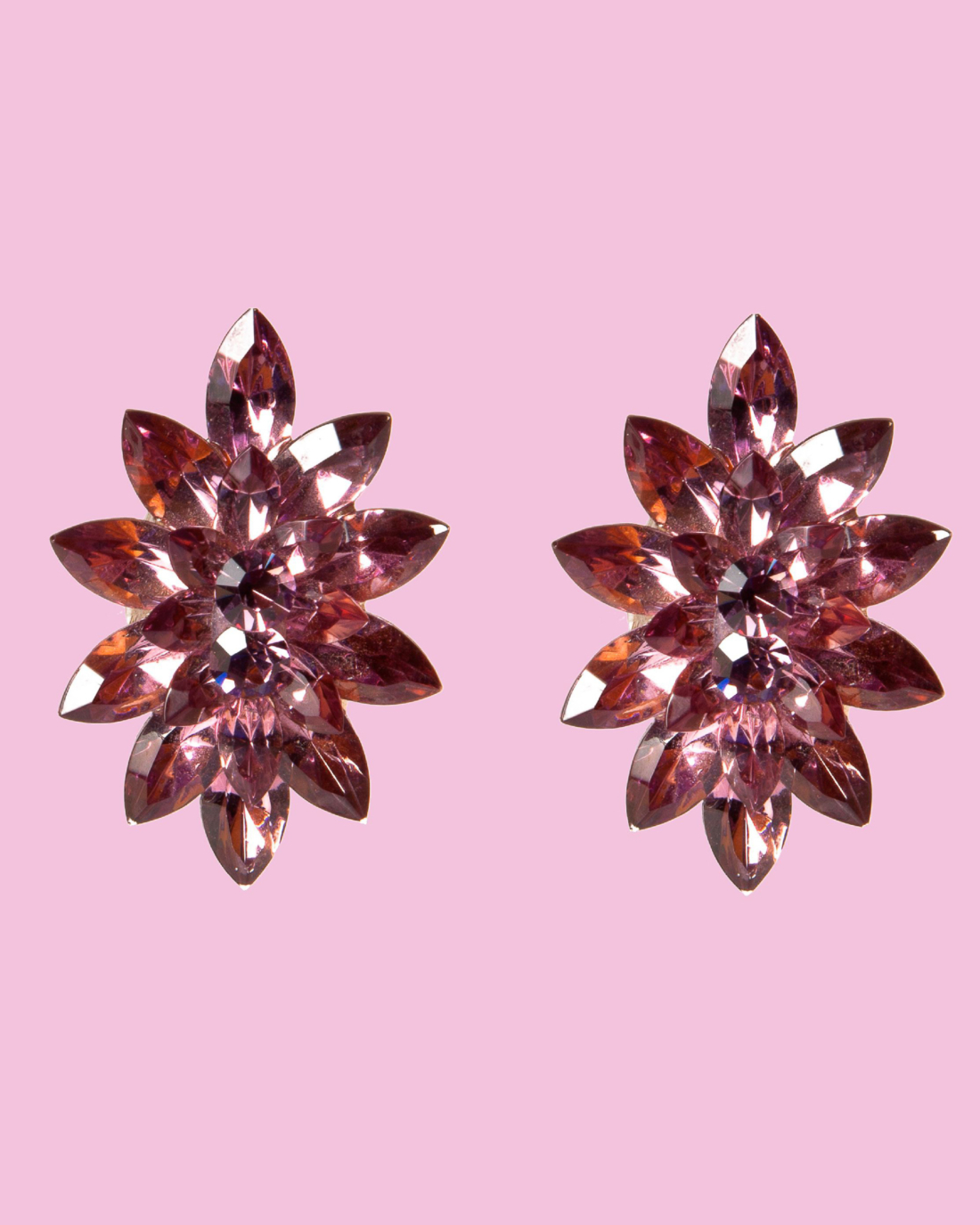 Purple Crystal Navette Pointed Star Earrings, circa 1960's