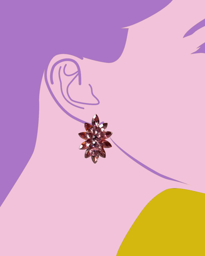 Vintage Purple Diamanté Marquis Cut Earrings, circa 1980's