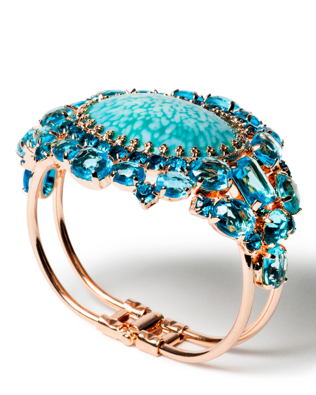Vintage Rose Gold and Turquoise Blue Multi Faceted Stone Cuff Bracelet,