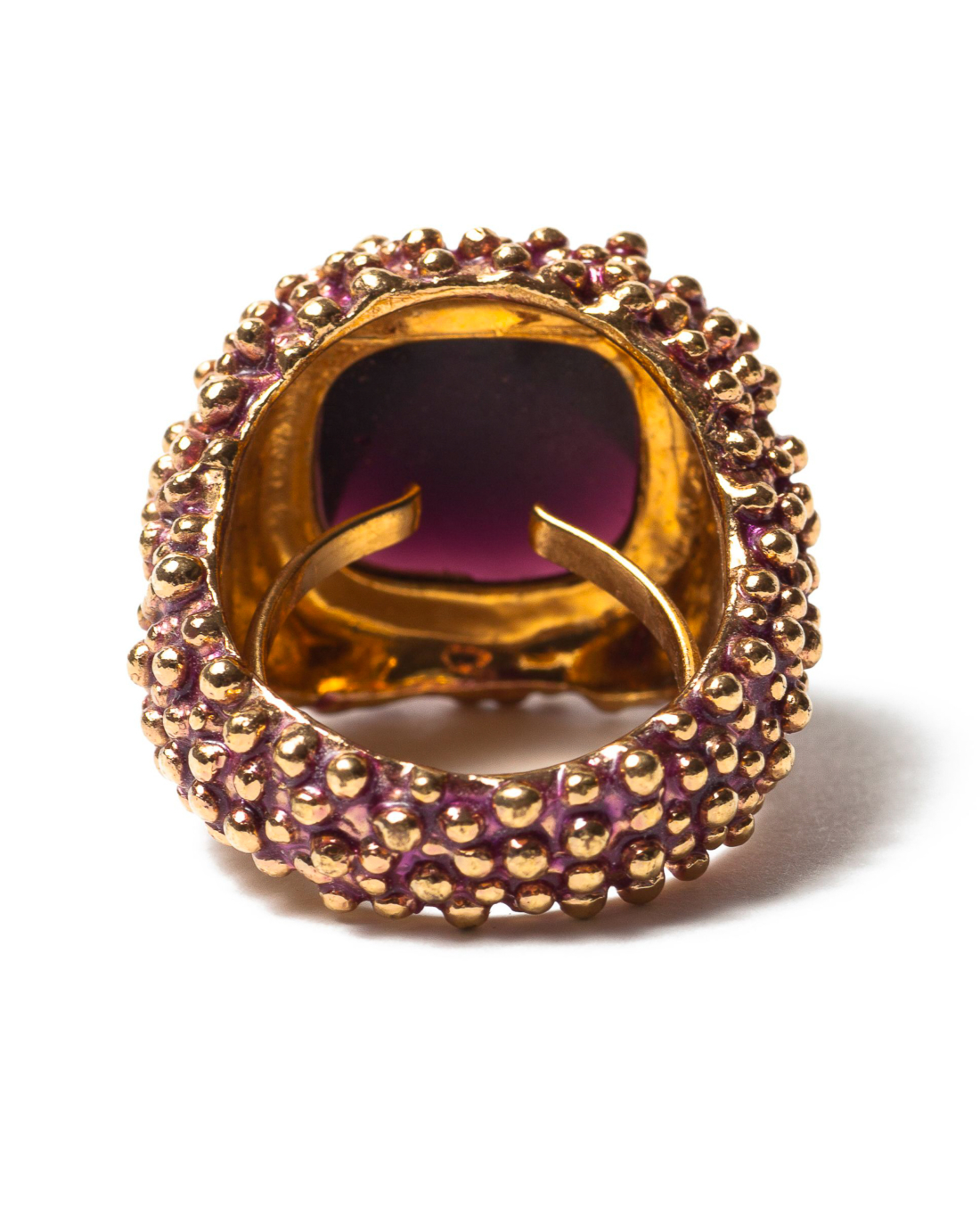 Smoky Amethyst Glass on Pebbled Gold Ring, circa 1980's
