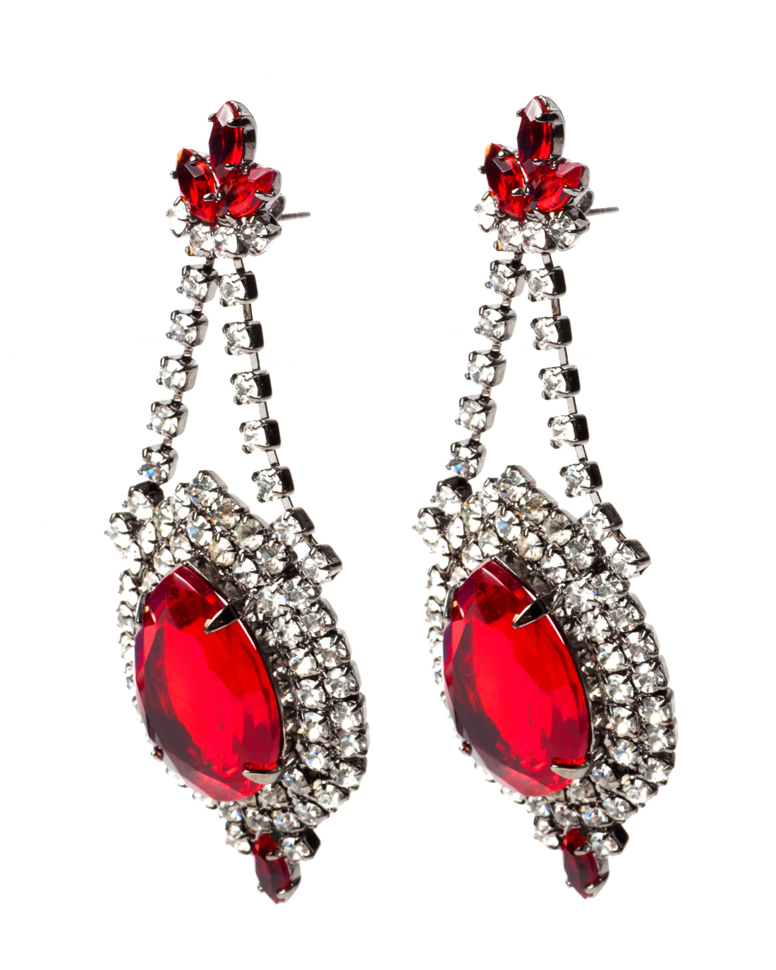 Ruby Red and Diamante Crystal Gunmetal Earrings, circa 2000's