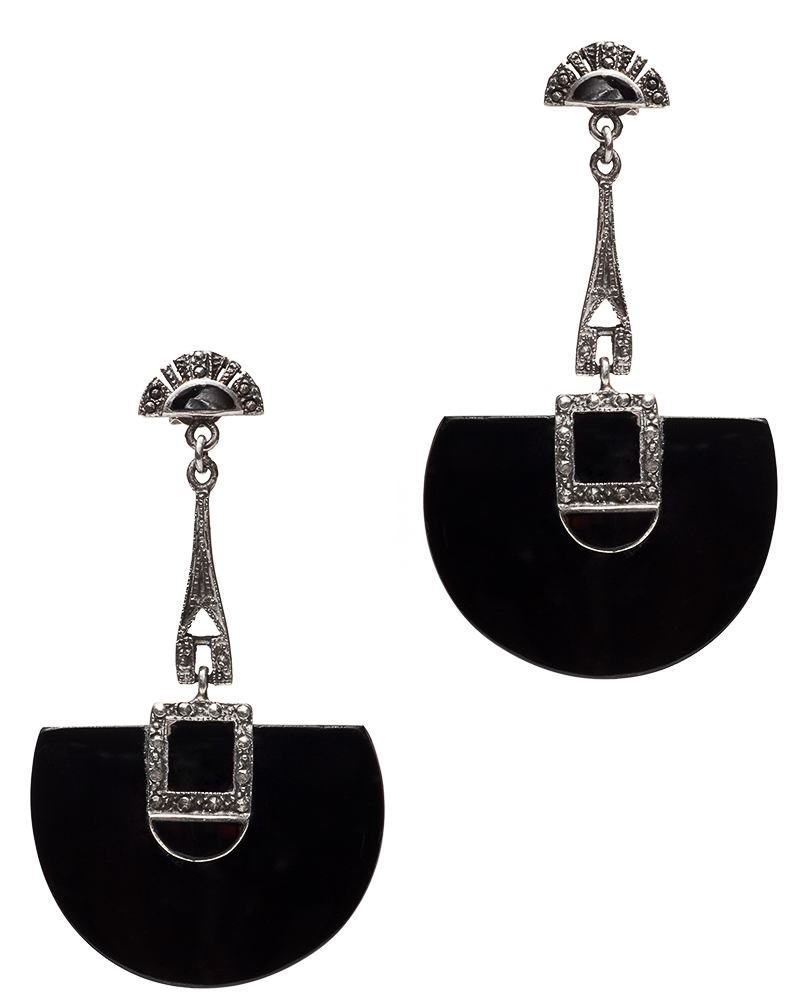 Art Deco Sterling Silver and Black Onyx Drop Earrings, circa 1930's