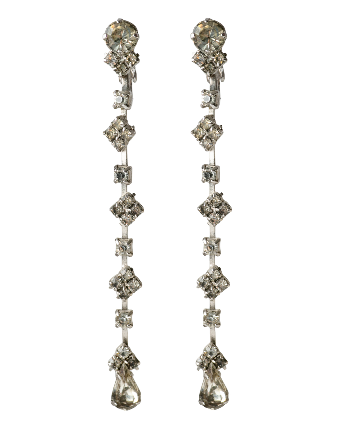 Art Deco Silver Paste Long Drop earrings, circa 1920's