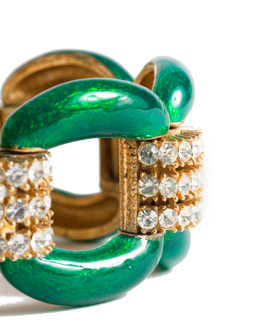 Regal Emerald Green Enameled Bracelet,by Ciner, circa 1960's