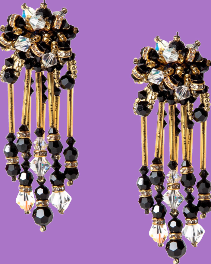 Haute Couture Hand Beaded Black Gold and Crystal Earrings, Made in Italy, circa 1960's