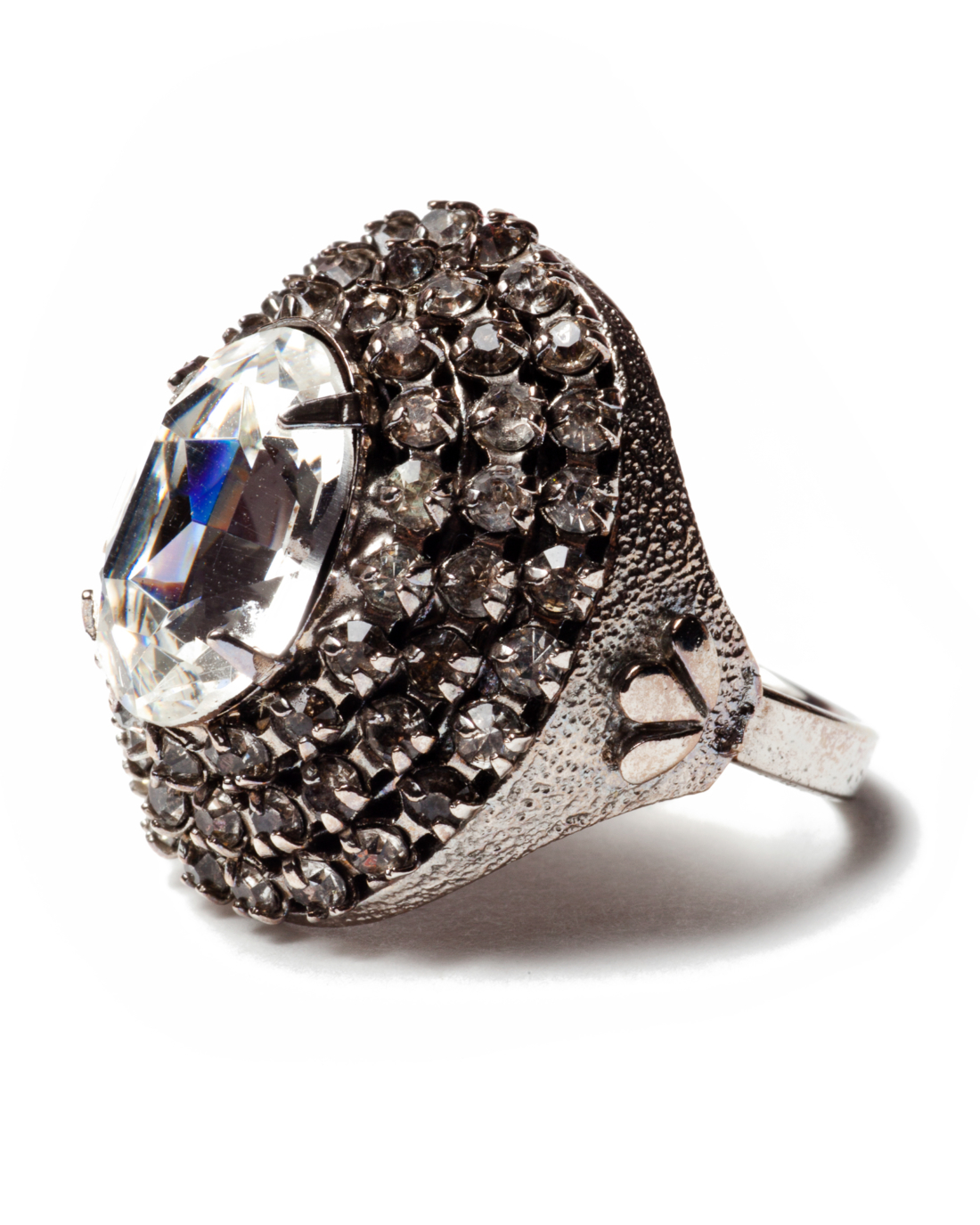 Crystal Diamante Cluster Silver Cocktail Ring, circa 1960's