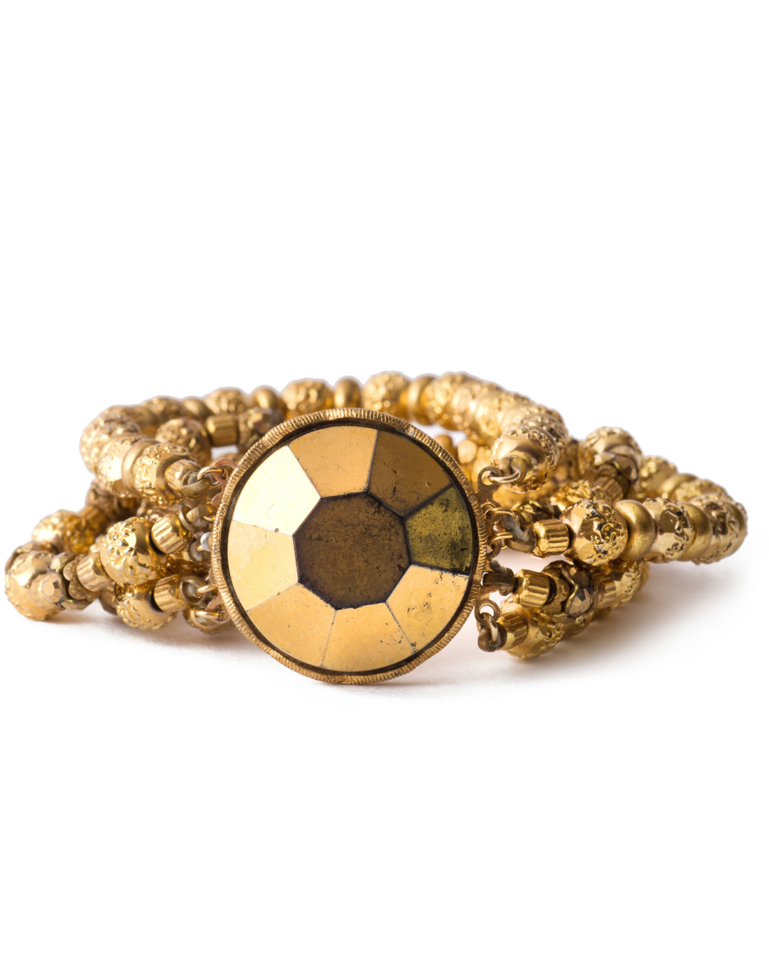 Victorian Gold Nailhead Beaded Bracelet by Alice Caviness, circa 1940's