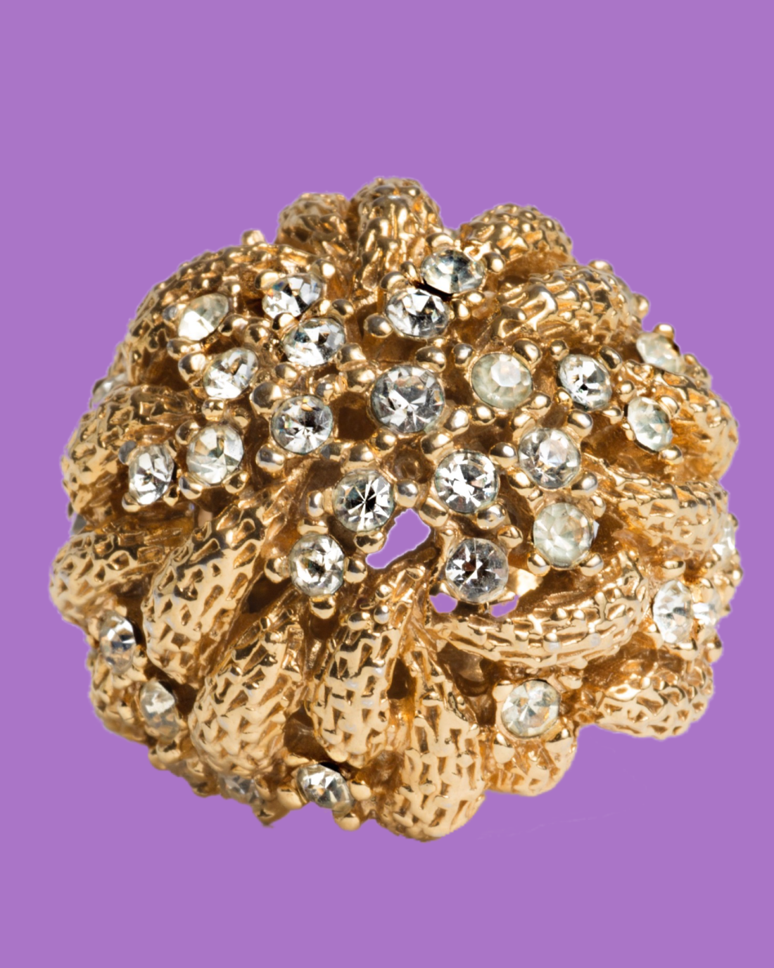 Vintage Gold and Rhinestone Holy Cluster Fabulous Cocktail Ring, circa 1950's