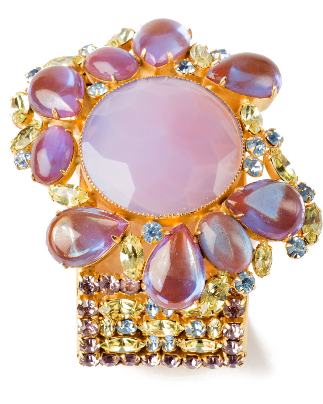 Stunning Couture Saphiret and Pink Opal Glass Jeweled Bracelet, circa 1950's
