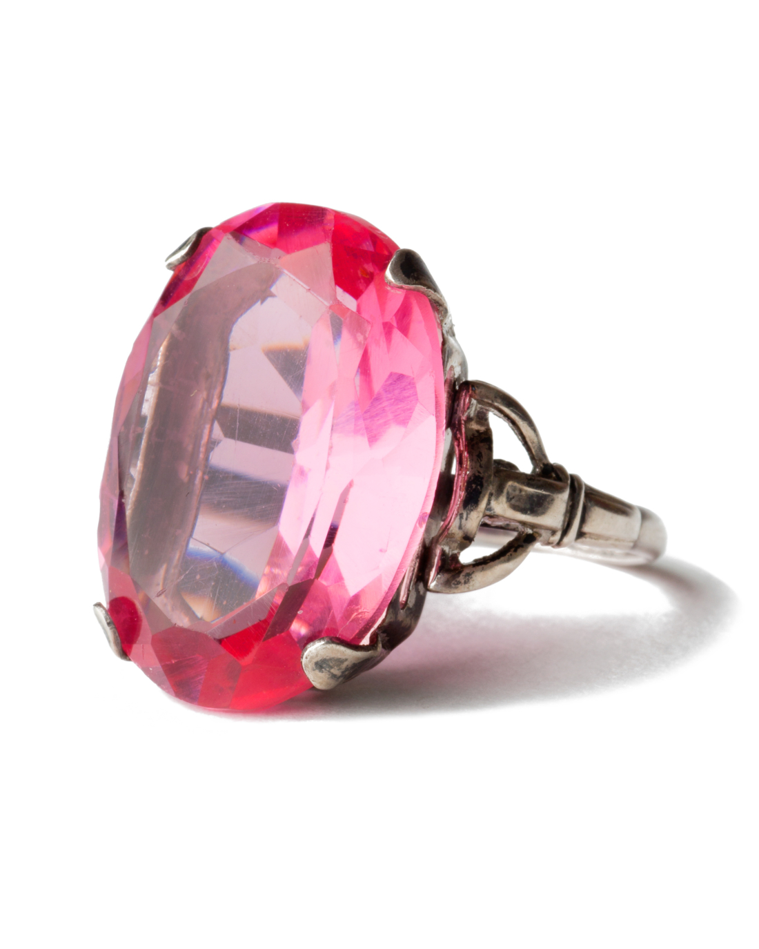 Art Deco Pink Sapphire Glass Sterling Ring, circa 1930's