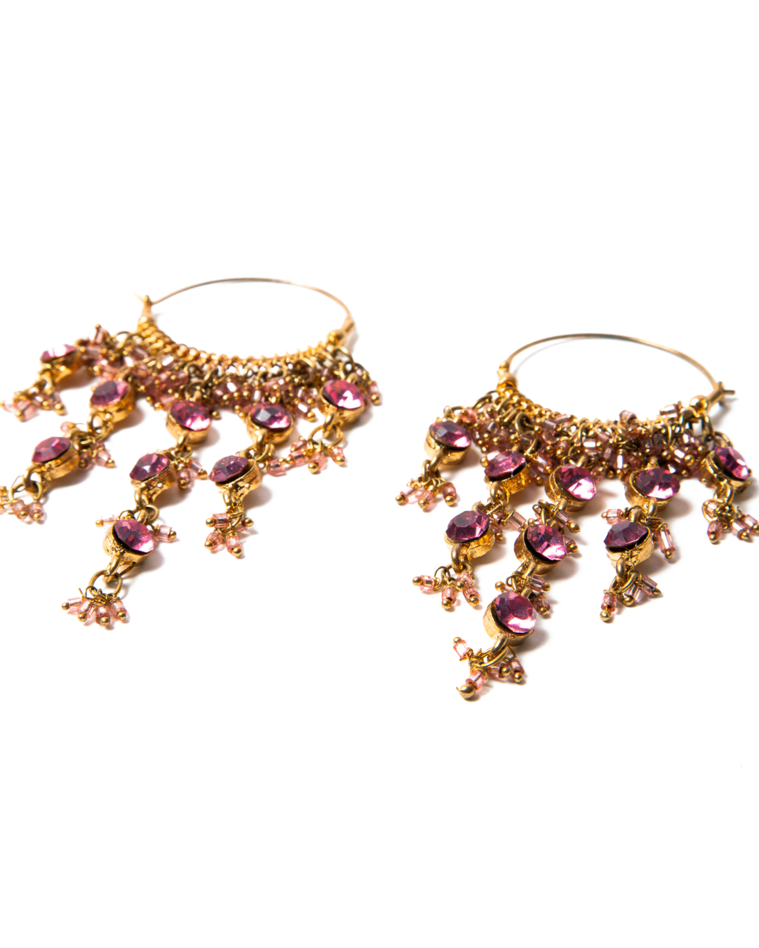 Pink Crystal Gypsy Chandelier Hoop Earrings, circa 1980's