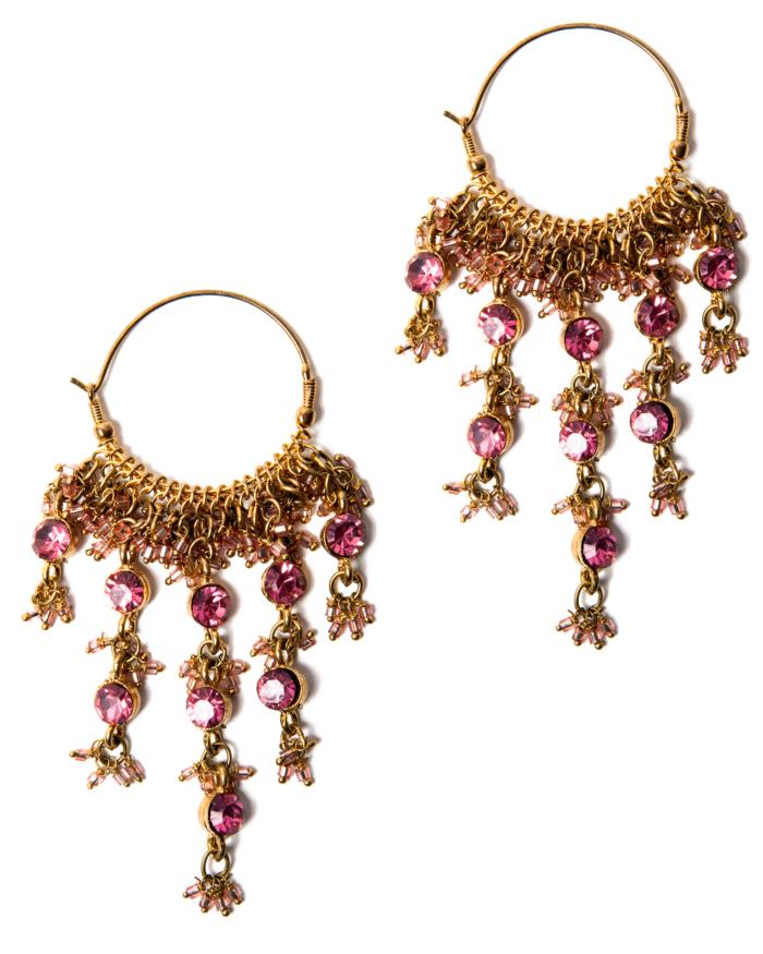 Pink Crystal Gypsy Chandelier Hoop Earrings, circa 1980's