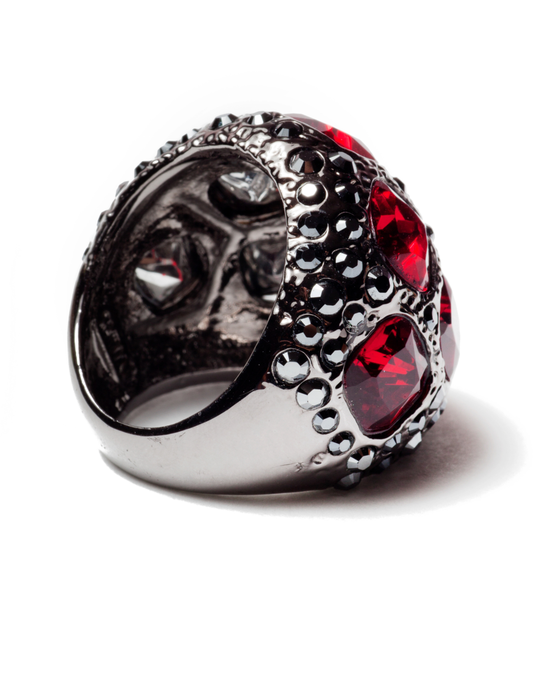 Sparkling Rebel Red and Gunmetal Ring, circa 1980's