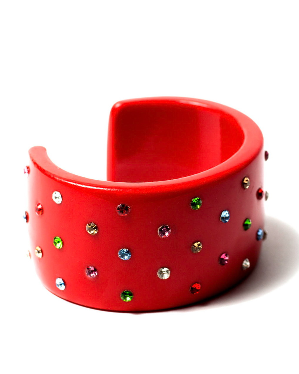 Vintage Red French Bakelite and Multi Colored Rhinestone Cuff Bracelet, circa 1930's