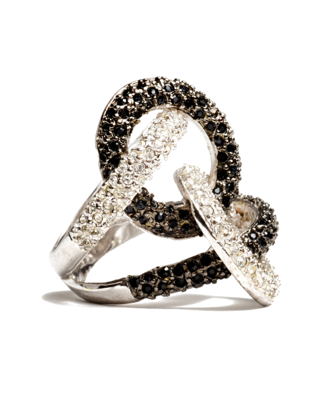 Intertwined Circle Silver and Black Crystal Cocktail Ring, circa 1980's