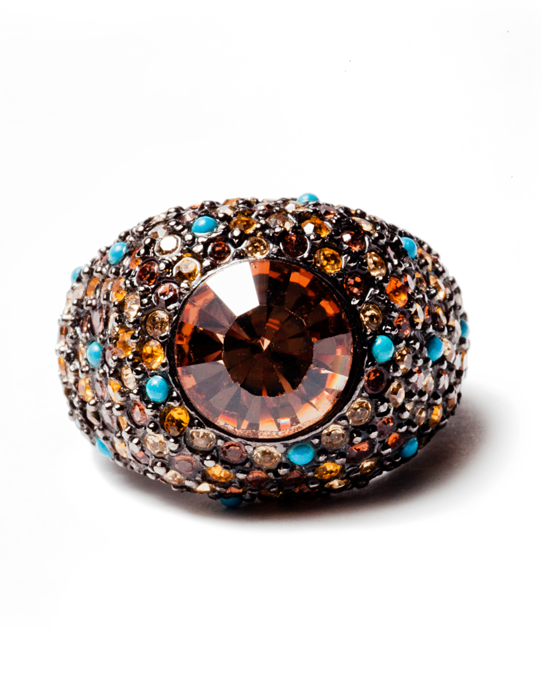 Topaz and Turquoise Pave Crystal Encrusted Gunmetal Cocktail Ring, circa 1960's