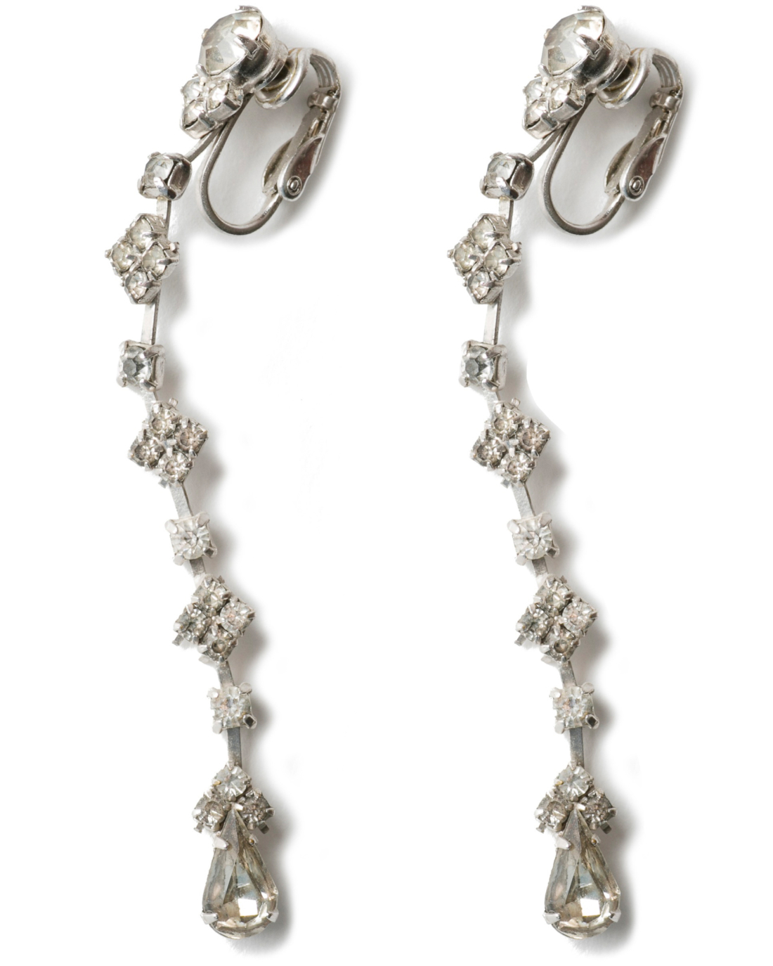 Vintage Art Deco Silver Paste Long Drop earrings, circa 1920's