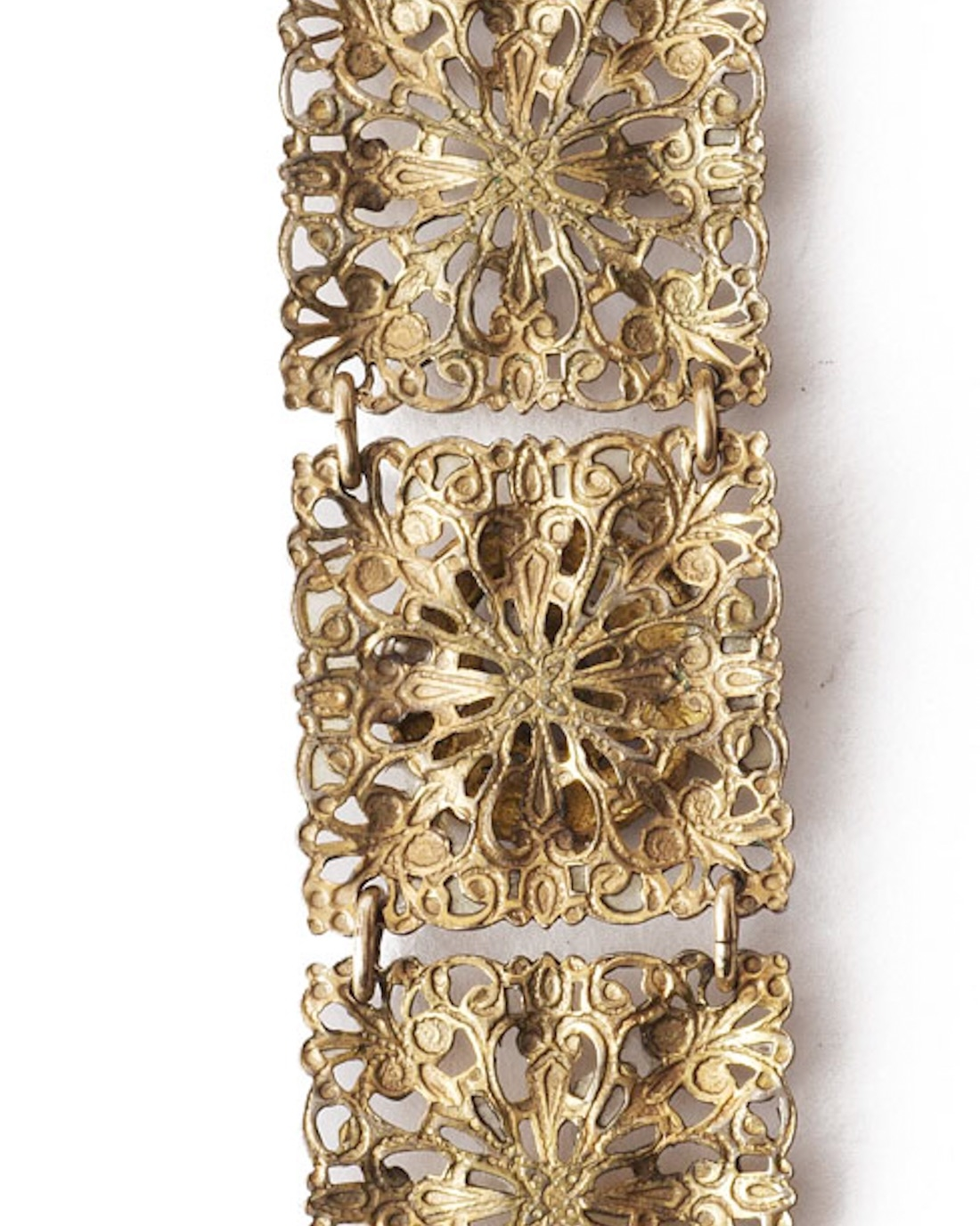Art Nouveau Brass Filigree Enamel Linked Bracelet, circa early 1900's