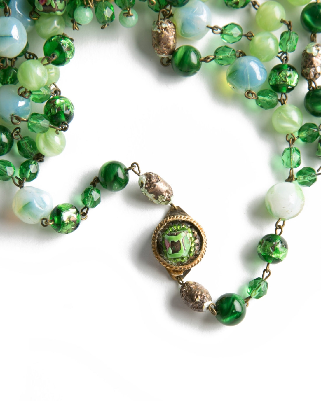 Couture Coppola e Toppo Green Italian Beaded Bib Necklace, circa 1960's