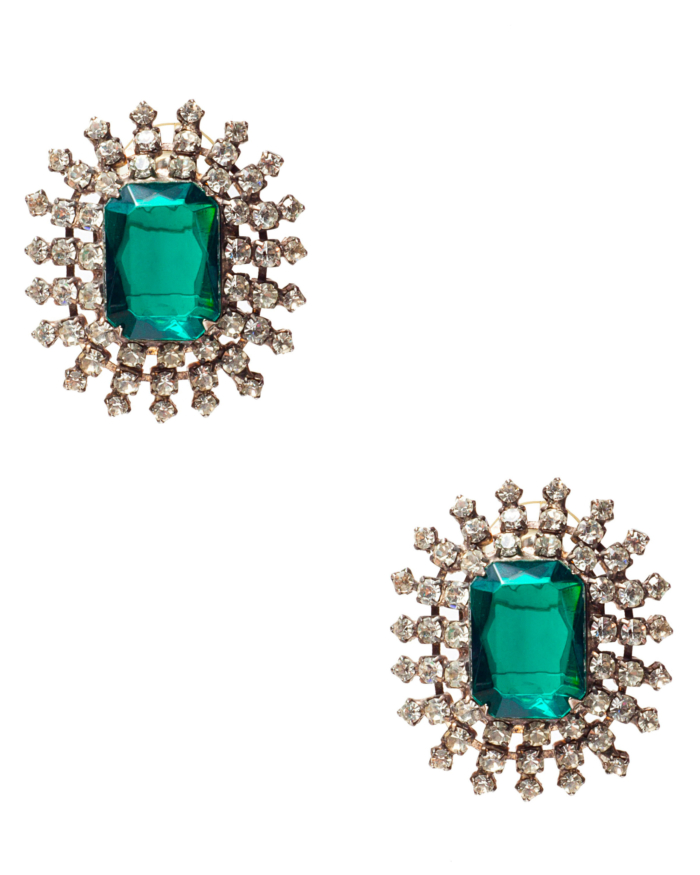 Emerald Green And Crystal Starburst Earrings, circa 1950's