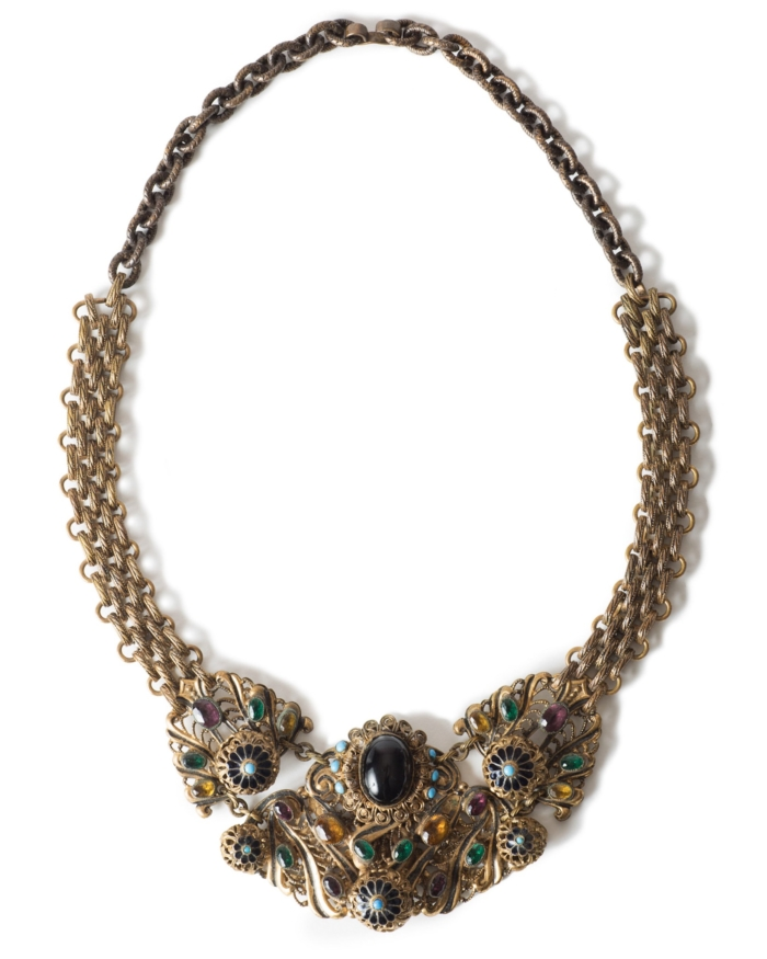 Exquisite Austro-Hungarian Enameled Necklace on Gingerbread Chain, circa 1930's