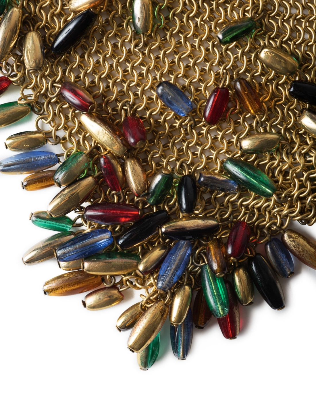 French Haute Couture Chainmaille Gold Bandana Necklace with Beaded Dangles, circa 1930's