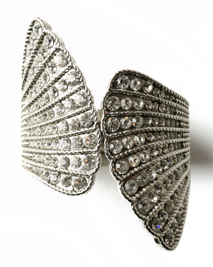 Sparkling Crystal Angel Wing Cuff Bracelet, circa 1950's