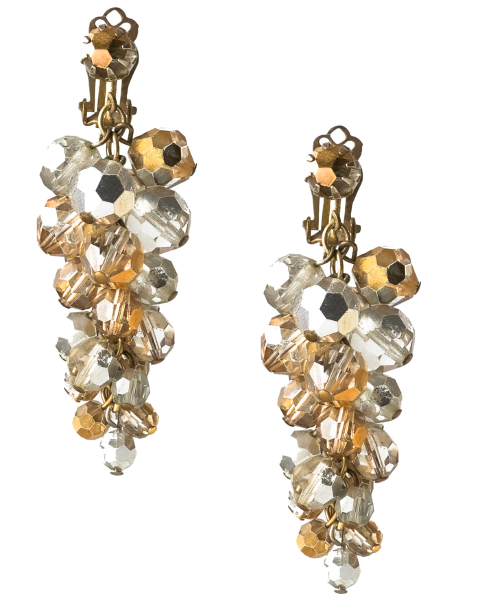 Vintage Silver Crystal Swag and Japanese Baroque Pearl Drop Earrings, circa 1950's