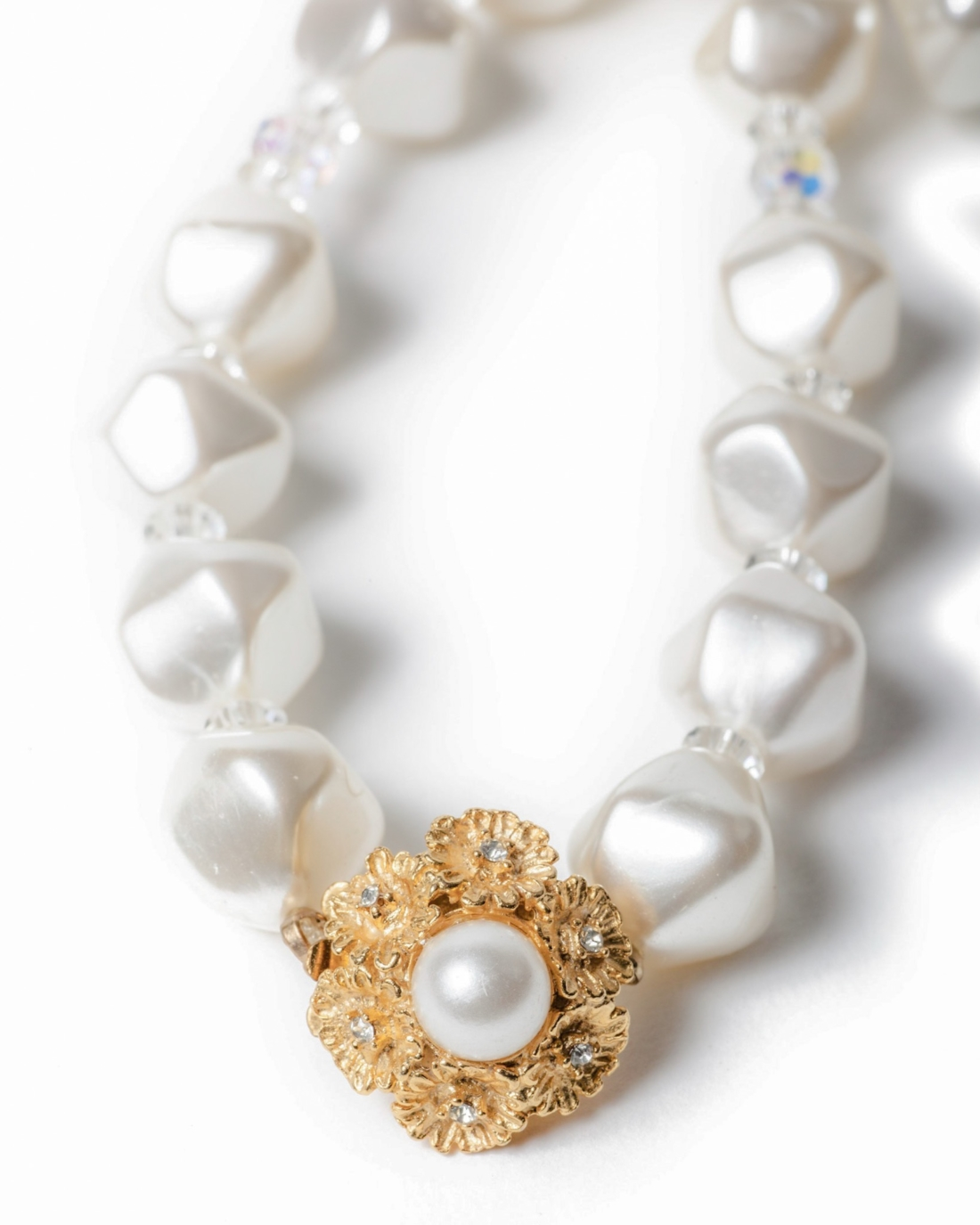 White Satin Pearl and Crystal Beaded Necklace,