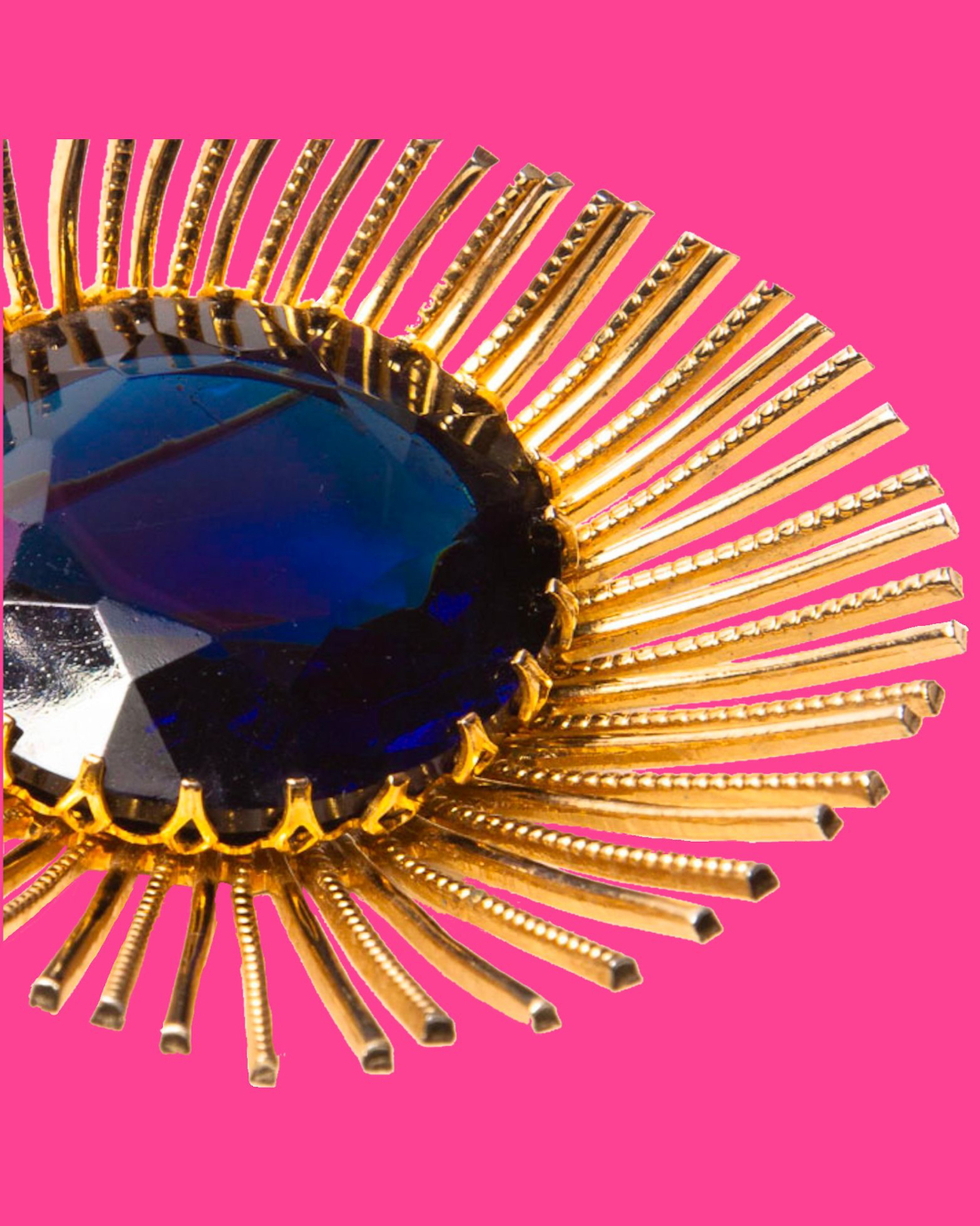 Gold and Blue Spiked Modernist Brooch, circa 1960's