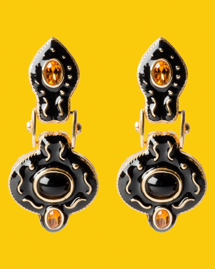 Black Enamel and Topaz Snake Head Ear Clips, circa 1980's